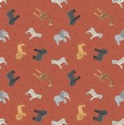 Lewis & Irene - Small Things World Animals - 6883 - African on Rust - SM24.2 - Cotton Fabric